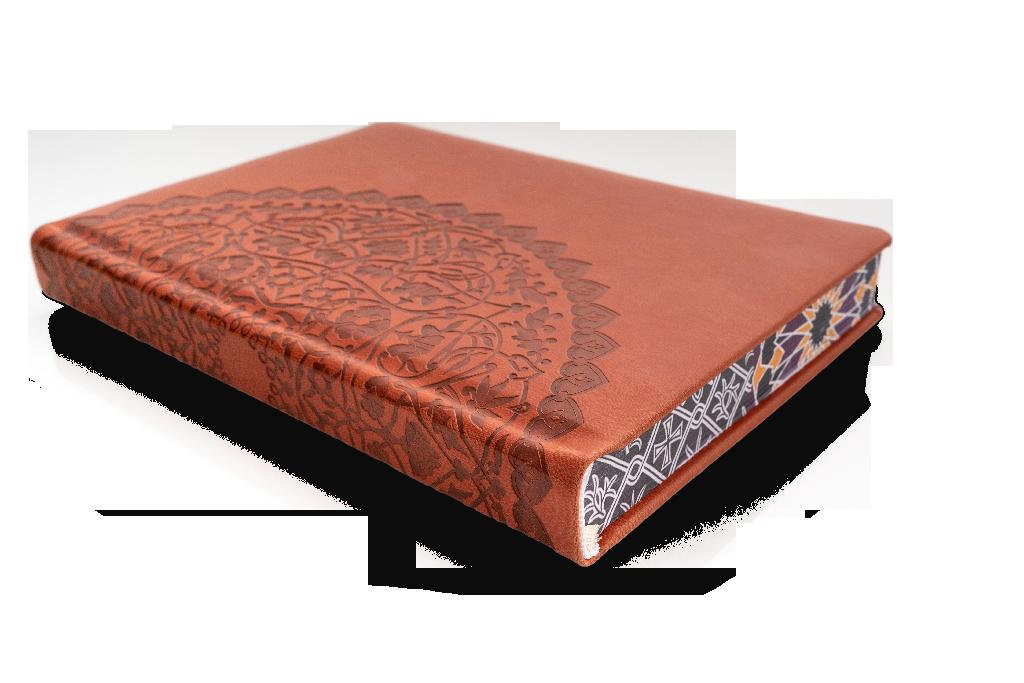 książka w oprawie z ekoskóry z tłoczeniem i nadrukiem na brzegach bloku książki