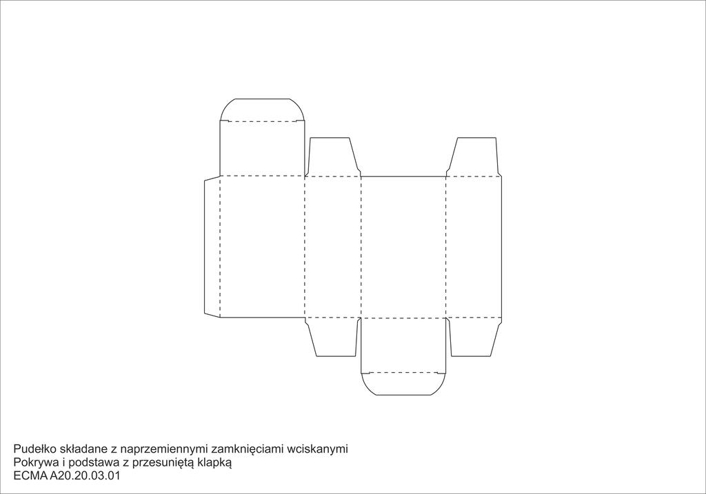 Pudełko składane z naprzemiennymi zamknięciami wciskanymi Pokrywa i podstawa z przesuniętą klapką