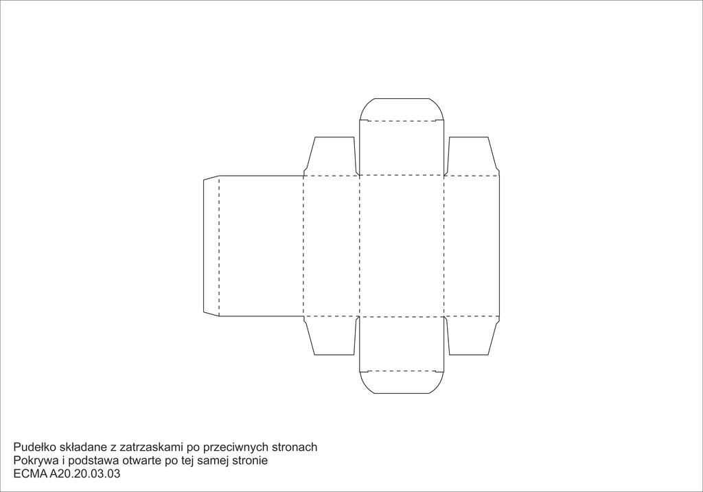 Pudełko składane z zatrzaskami po przeciwnych stronach Pokrywa i podstawa otwarte po tej samej stronie