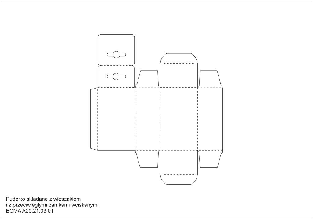 Pudełko składane z wieszakiem i z przeciwległymi zamkami wciskanymi