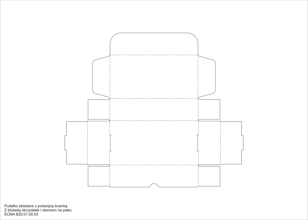 Pudełko składane z podwójną ścianką Z blokadą skrzydełek i otworem na palec